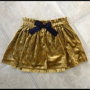 Genuine Kids velvet mustard shirred waist skirt